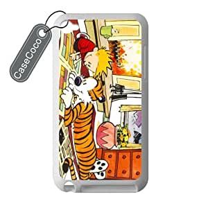 CASECOCO(TM) Calvin And Hobbes iPod Touch 4 Case - 100% Protective Soft Rubber White Case for iPod Touch 4