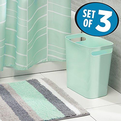 mDesign Curtain Microfiber Bathroom Wastebasket