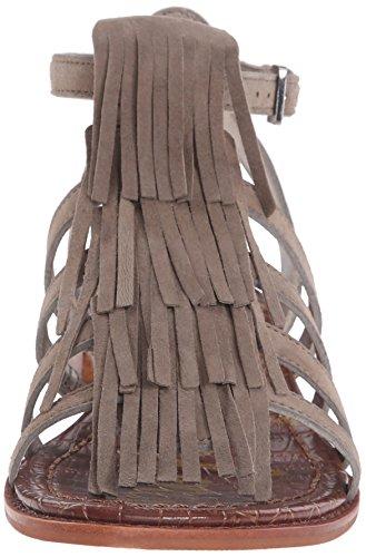 Sandalia Sam Edelman Estelle en gamuza marrón cuero con franjas Putty