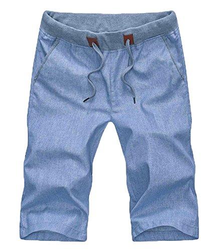 Plaid&Plain Men's Slim Fit Elastic Waist Drawstring Linen Shorts Blue M ()