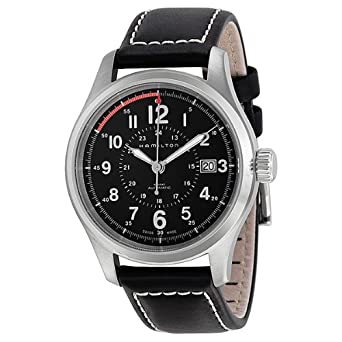 c6123cb5f Image Unavailable. Image not available for. Color: Hamilton Men's  HML-H70595523 Khaki Field Analog Swiss Automatic Black Watch