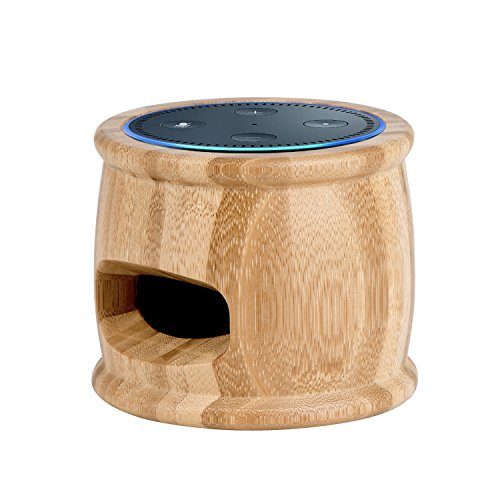 Echo Dot Holder Stand Bamboo Wood Dock Station for Amazon Echo Dot 2nd and 1St Generation Speaker, Alexa Echo Dot Case Cover, Echo Dot Speaker Guard Stand Mount Base, Amazon Echo Dot Accessories