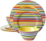 plastic outdoor plates - Gibson Studio Line Color Celebration Rainbow Stripes 12-Piece Melamine Dinnerware Set