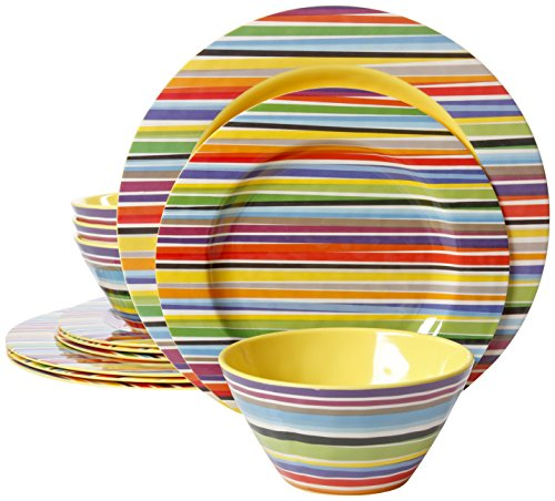 Gibson Studio Line Color Celebration Rainbow Stripes 12-Piece Melamine Dinnerware (Plastic 12 Piece)