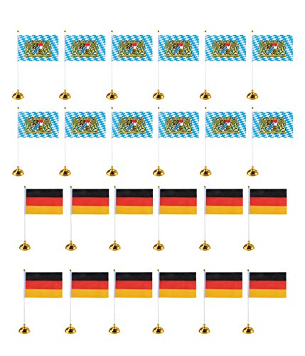 Juvale Bavaria and Germany Oktoberfest Desk Flags - 24-Piece German Theme Party Decoration Desktop Flags with Stick and Gold Stand, 12 of Each Flag, 8 x 5 Inches -