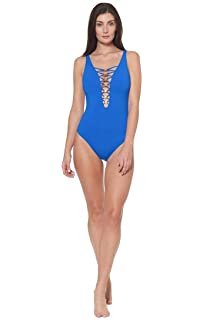 80f3845218 Bleu Rod Beattie Women's Knotty But Nice Lace Down Mio One-Piece Swimsuit