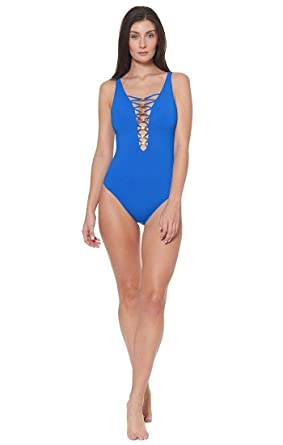 8fa3177d1a Bleu Rod Beattie Women's Knotty But Nice Lace Down Mio One-Piece Swimsuit  at Amazon Women's Clothing store: