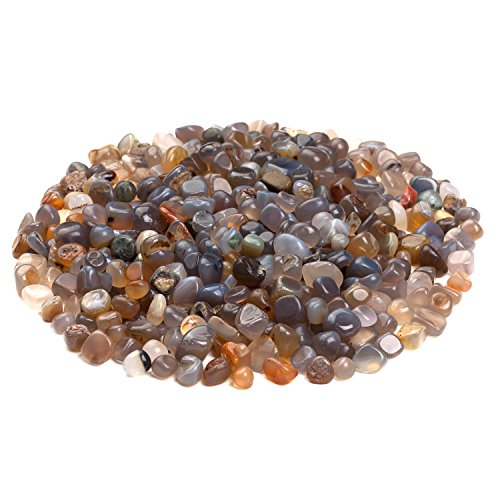 iSTONE Jewelry Grade A+ Natural Healing Chakra Gemstone Tumbled Chips Stone Crushed Crystal Quartz Pieces Irregular Shaped Stones 1 pound(about 460 gram) Agate(0.2-0.3'')