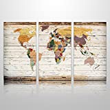 XXlarge Vertical Wood World Map Canvas Prints Atlas Framed Map Wall Art Decor for Home Decoration Map Wall Decor (4)