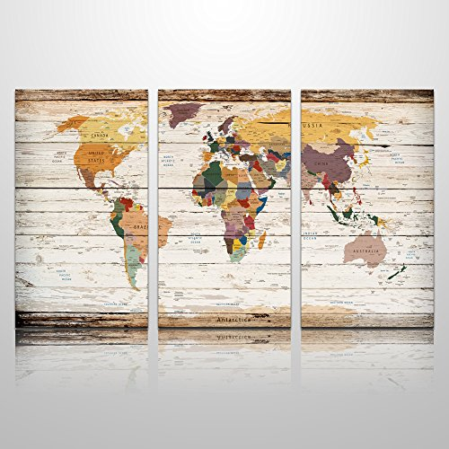 XXlarge Vertical Wood World Map Canvas Prints Atlas Framed Map Wall Art Decor for Home Decoration Map Wall Decor (4) by Visual Art