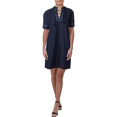 30660fa0d46 Image Unavailable. Image not available for. Color  LAUREN RALPH LAUREN  Womens Plus Manpreet Denim Embroidered Casual Dress ...