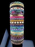 WigsPedia Roll on Glass Beaded Bracelet - Nepal Glass Beaded Bangles SET of (100)