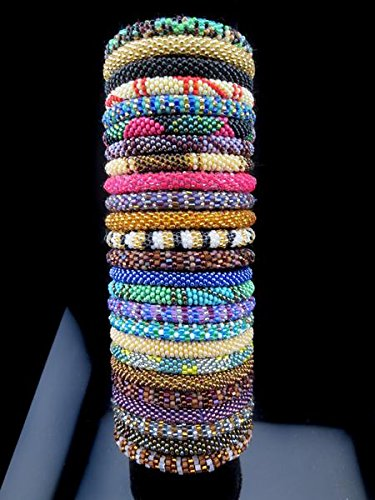 WigsPedia Roll on Glass Beaded Bracelet - Nepal Glass Beaded Bangles SET of (100)