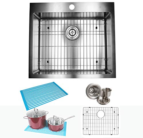 25 Inch Drop In Topmount Stainless Steel Kitchen Sink Package 16 Gauge Double Bowl Basin with 9 Gauge Deck  Complete Sink Pack ()