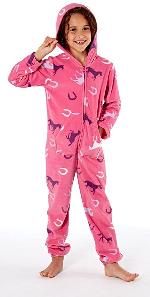 Platinum Girls Happy Horse Hooded Fleece Onesie - Cerise  Amazon.co.uk   Clothing f2c0ab2e9