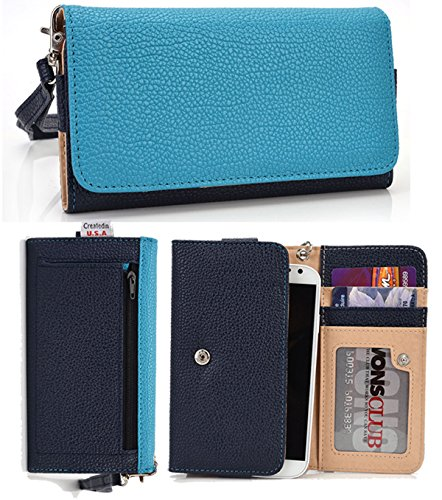 T-mobile Mytouch 3g Bling (Google Nexus 4 Phone Premium Wallet with Zipper Coin Outside Pocket Clutch Carrying Cover Case Pouch. Color: Baby Blue / Dark Blue (ESMLMTBB))