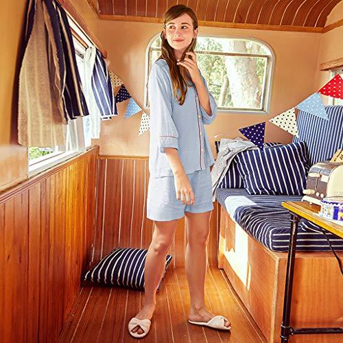 cardigan Stampa Blue dimensioni Pantaloncini donna Blue XL Colore cotone Pigiama maniche con in HUXIUPING con AxBYZCwqg