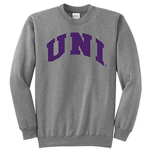 (Campus Merchandise NCAA Northern Iowa Panthers Arch Classic Crewneck Sweatshirt, Medium, Light Heather Grey)
