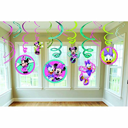Minnie Swirl Decorations, mickey mouse club house,12 pieces (Minnie Mouse Birthday)