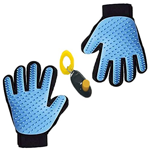 Price comparison product image SHUANGYING Special Edition Pet Bath Massage Gloves,Dog Massage Bath Clean Gloves(One Pair),Dog Cleaning Tools,Get An Extra Training Tools For Free,Harmless Gentle Dog Brush