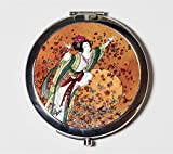 Chinese Woman Butterflies Compact Mirror Asian Fine Art Painting Make Up Pocket Mirror for Cosmetics