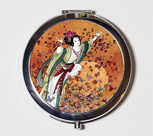 Chinese Woman Butterflies Compact Mirror Asian Fine Art Painting Make Up Pocket Mirror for Cosmetics by Fringe Pop