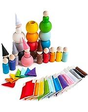 Ulanik Peg Poppen met hoeden en bedden in een bal Montessori speelgoed houten sorteerspel 12 kabouters 60 mm leeftijd 3+ kleur sorteren en tellen Peg poppen kleuterschool leren onderwijs