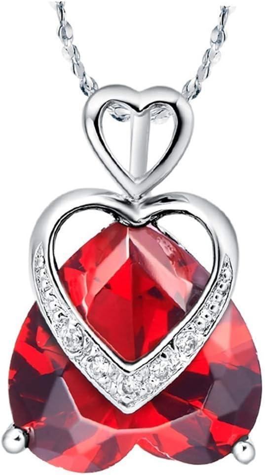 CHOUCHOU Colgante Pendientes Collar Plateado Plata con circonio Hueco en Forma de corazón, Color: Rojo Zirconia (Color : Red Zirconia)