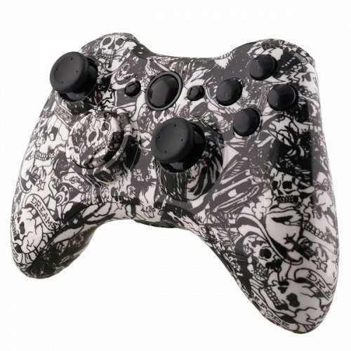 Grave Shell - Designer Hydro Dipped Controller Replacement Shell for Xbox 360 Grave White Skull