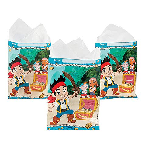 Fun Express - Jake Neverland Pirates Loot Bags (8pc) for Birthday - Party Supplies - Licensed Tableware - Misc Licensed Tableware - Birthday - 8 -