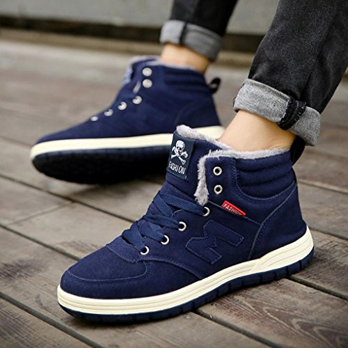 Ankle Blue Comfortable Work Outdoor Sinwo Unisex Winter Shoes Warm Men Women Boots Plush Boots Snow xPgwH4