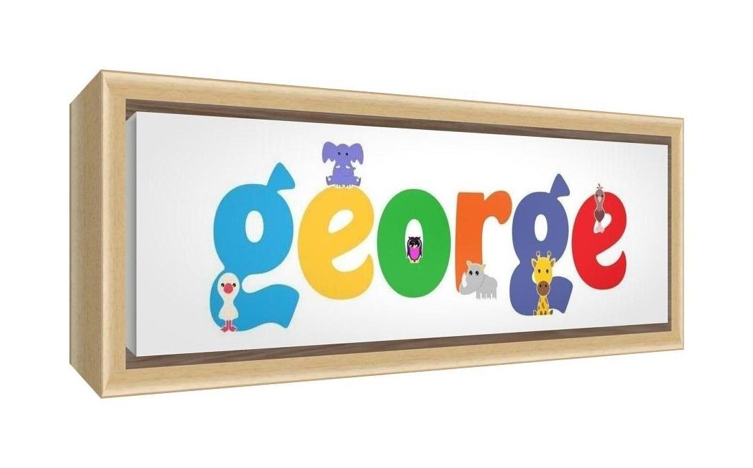 Feel Good Art Framed Box Canvas with Solid Natural Wooden Surround in Cute Illustrative Design Boy's Name (34 x 88 x 3 cm, Large, George) LHV-GEORGE3084-FCNAT-15