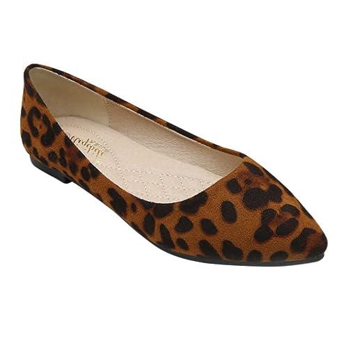 Yudesun Leopardo Puntiagudo Ballet Plano - Ante Poco Profundo Mocasines  Zapatillas Oficina Moda Casual Ligero Primavera Mujeres Zapatos  Amazon.es   Zapatos ... 5b4298ecb1fb5