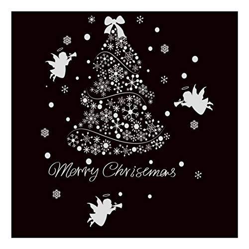"""SWORNA Holiday Series SN-62 Merry Christmas Tree Angel Snowflakes Removable Vinyl DIY Wall Window Door Mural Decal Sticker for Retail Store/Coffee House/Restaurant/Supermarket/Dress Shop 44""""H X 39""""W"""