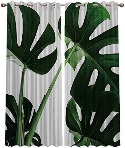 Fandim Fly Blackout Curtains for Bedroom 2 Panels,Tropical Palm Tree Jungle Leaves Backdrop Thermal Insulated Blackout Grommet Window Curtain for Living Room 52 W by 96 L