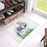 KNEVFLOW Donkey Animal Art Abstract Watercolor Vintage Unique Debora Custom Bathroom Accessories Non-slip Bath Mat Rug Bath Doormat Floor Rug 23.6 X 15.7 Inch
