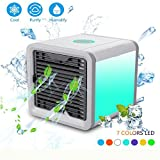 Mercu 3 in1 USB Mini Energy Efficient Air Conditioner coolers for room portable,air evaporative cooler,Purifier Desktop Air Coolers Fan with 3 Speeds and 7 Colors LED Night Light for Office/Home/Car
