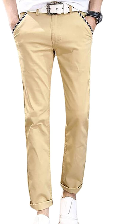 1e9e8b14f8eb5 hot sale FLCH+YIGE Men s Slim Fit Straight Leg Casual Pants Flat-Front  Trousers