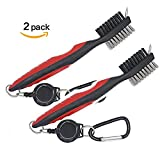 Golf Brush Club Groove Cleaner, Lightweight Brush Golf Tees with 2 Ft Retractable Zip-line Aluminum Carabiner 2 Packs