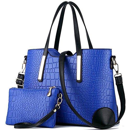 Womens 2 Piece Tote Bag Leather Handbag Crossbody Bags Set (Blue) - 7