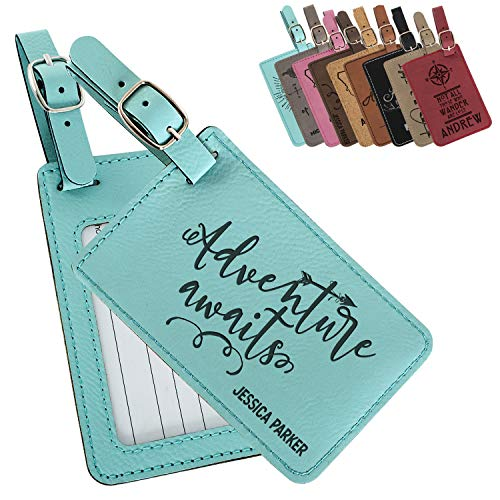 (Personalized Luggage Tags with Strap + Name ID Card, 9 Colors, Leatherette Cruise Ship Accessories for Honeymoon,Gifts for Travelers, Custom Luggage Tag- Teal)