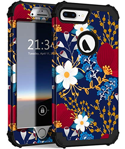 - iPhone 8 Plus Case, iPhone 7 Plus Case, Hocase Heavy Duty Shockproof Protection Hard Plastic+Silicone Rubber Hybrid Protective Case for iPhone 7 Plus/iPhone 8 Plus - Creative Flowers