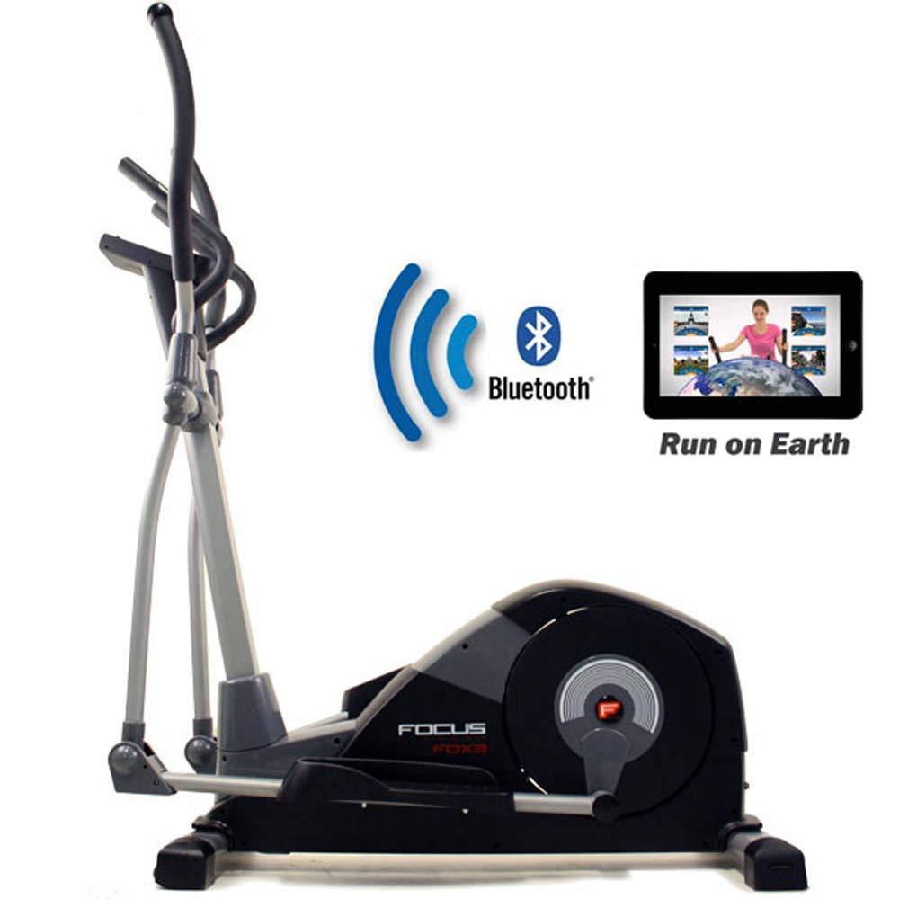 Focus Fitness Elliptische Trainer Fox 3 iPlus - Smartphone tablet App kompatibel - Natürliche Laufbewegung - 16 Widerstandsniveaus mit 18 Trainingsprogrammen - Crosstrainer