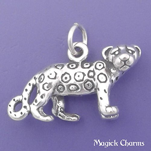 Sterling Silver 3-D CHEETAH Leopard Charm Pendant - lp2705 Jewelry Making Supply Pendant Bracelet DIY Crafting by Wholesale Charms