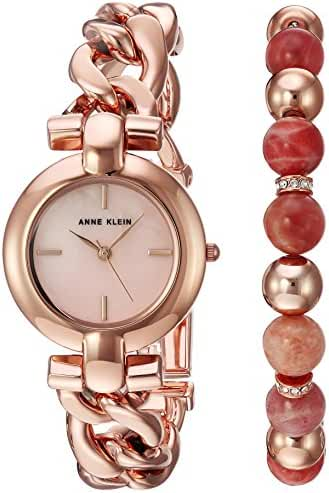 Anne Klein Women's AK/2836SUNS Rose Gold-Tone Bracelet Watch and Sunstone Beaded Bracelet