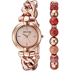 Anne Klein Women's AK/2836SUNS Rose Gold-Tone Bracelet Watch and Sunstone Beaded Bracelet