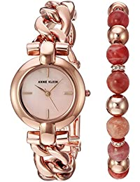 Women's AK/2836SUNS Rose Gold-Tone Bracelet Watch and Sunstone Beaded Bracelet