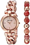Image of Anne Klein Women's AK/2836SUNS Rose Gold-Tone Bracelet Watch and Sunstone Beaded Bracelet
