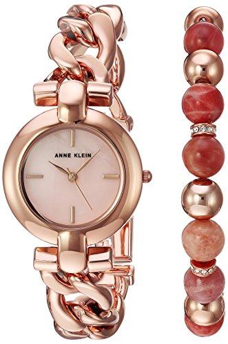 Ann Beaded Bracelets (Anne Klein Women's AK/2836SUNS Rose Gold-Tone Bracelet Watch and Sunstone Beaded)