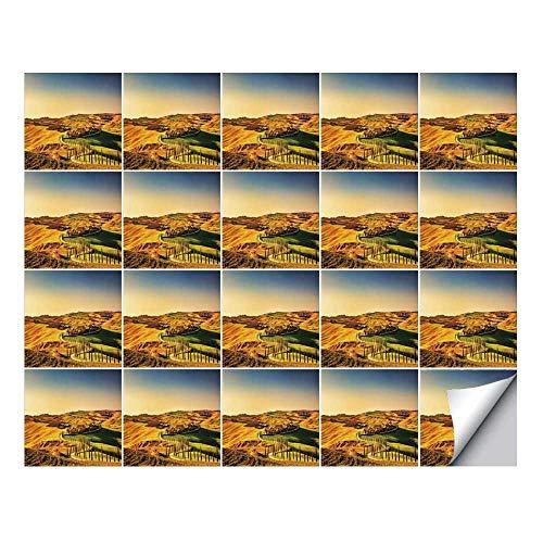 - YOLIYANA Italy Stylish Ceramic Tile Stickers 20 Pieces,Tuscany Crete Senesi Rural Landscape Cypress Trees Country Farmland Europe Decorative for Home Restaurant,7.8
